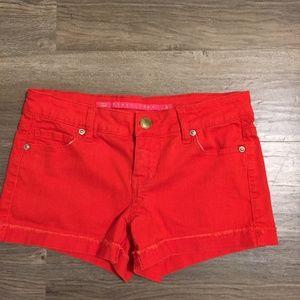 Bright Red Orange short shorts Tinseltown Sz 3